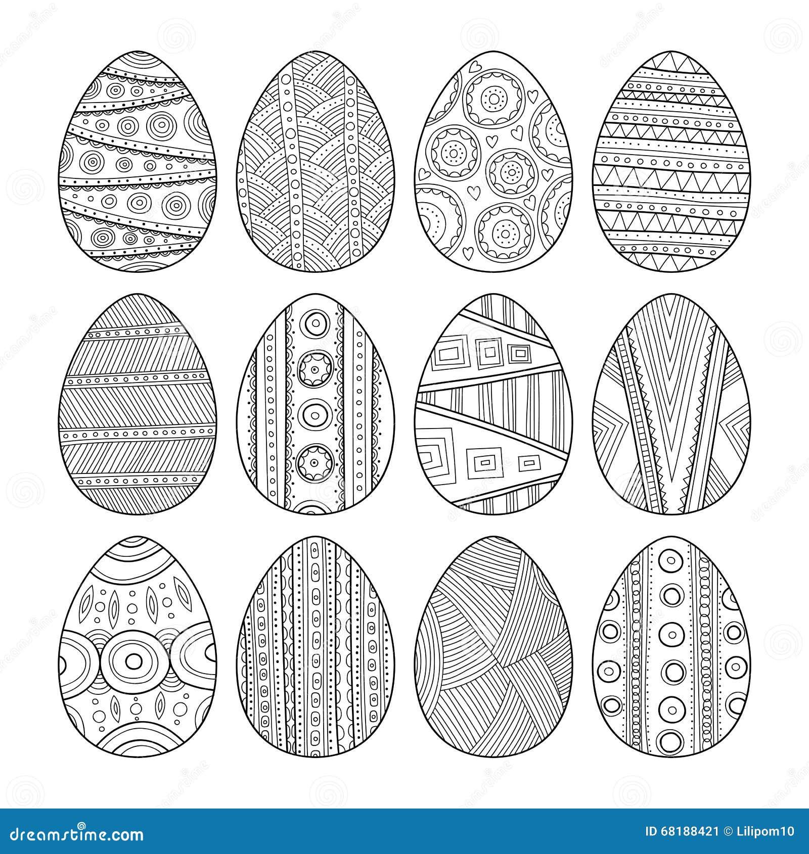 Комплект черно-белых пасхальных яя для книжка-раскраски