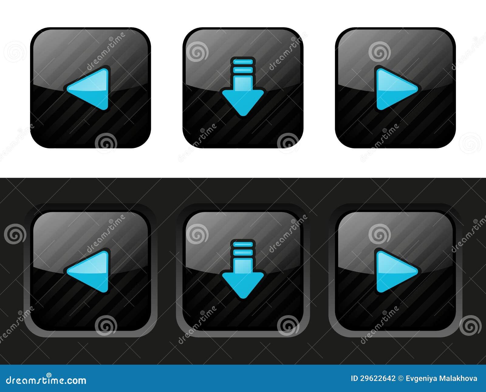 Комплект черных кнопок