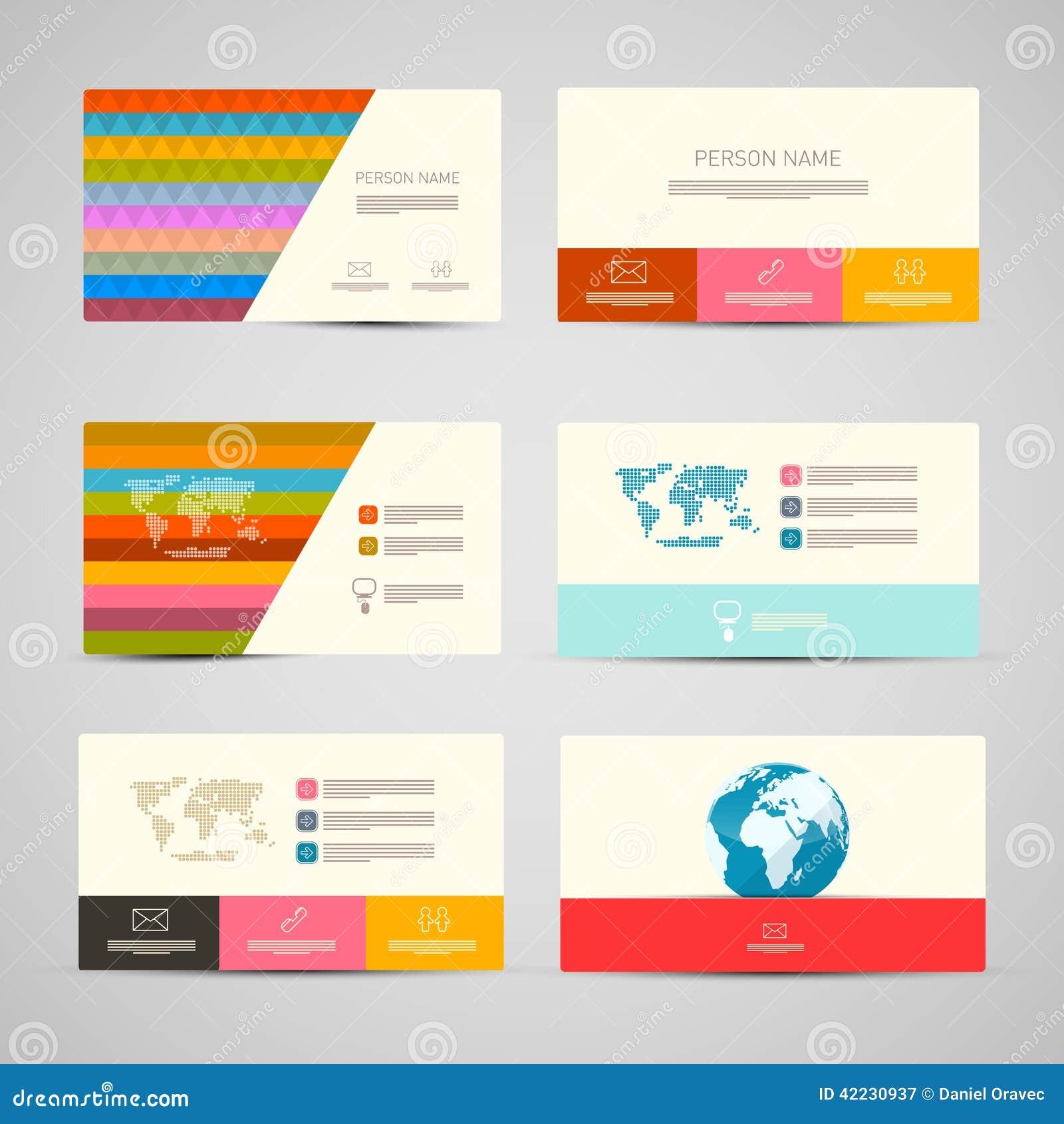 Комплект шаблона визитных карточек вектора бумажный