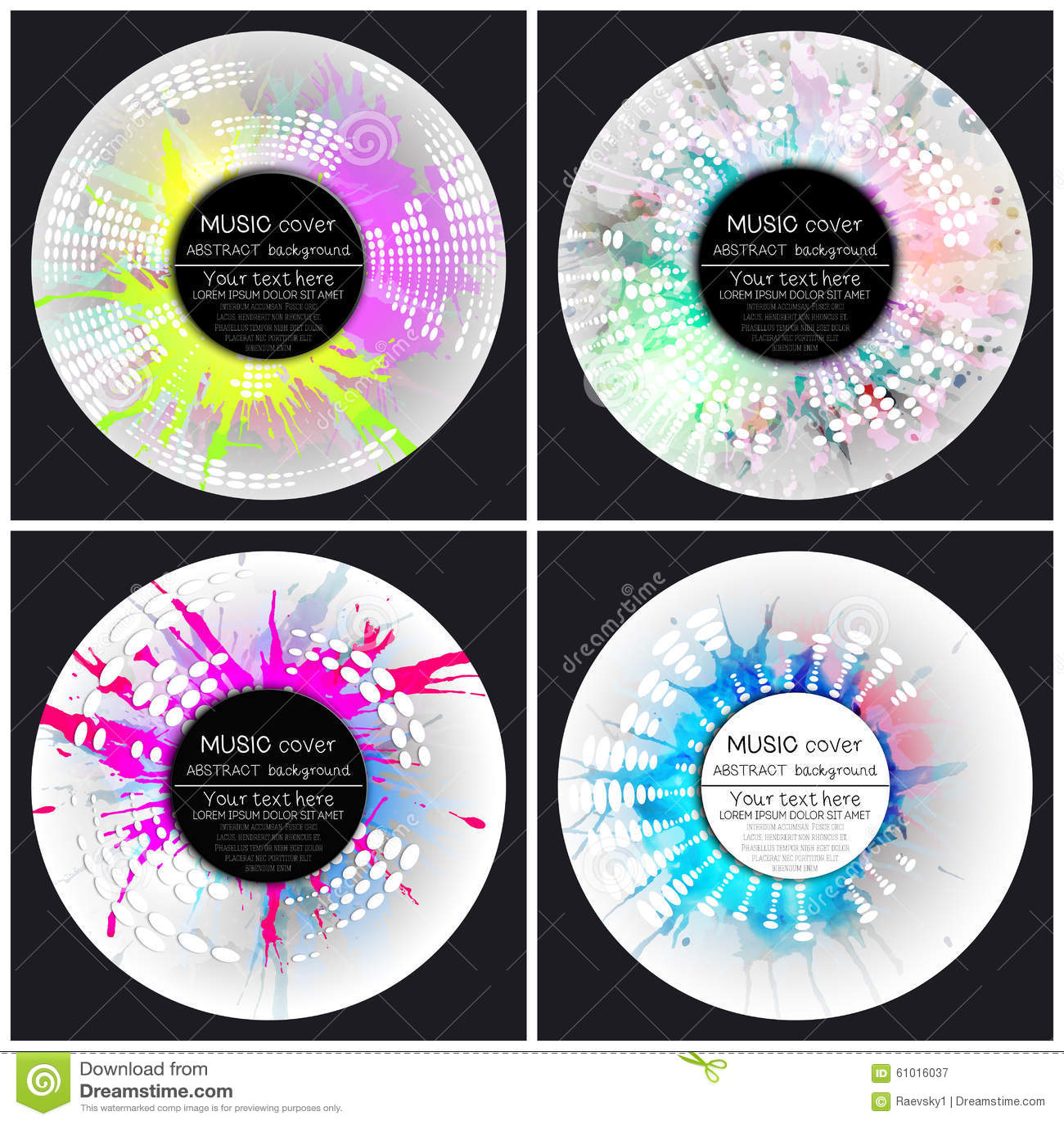 Комплект 4 шаблонов крышки альбома музыки Аннотация
