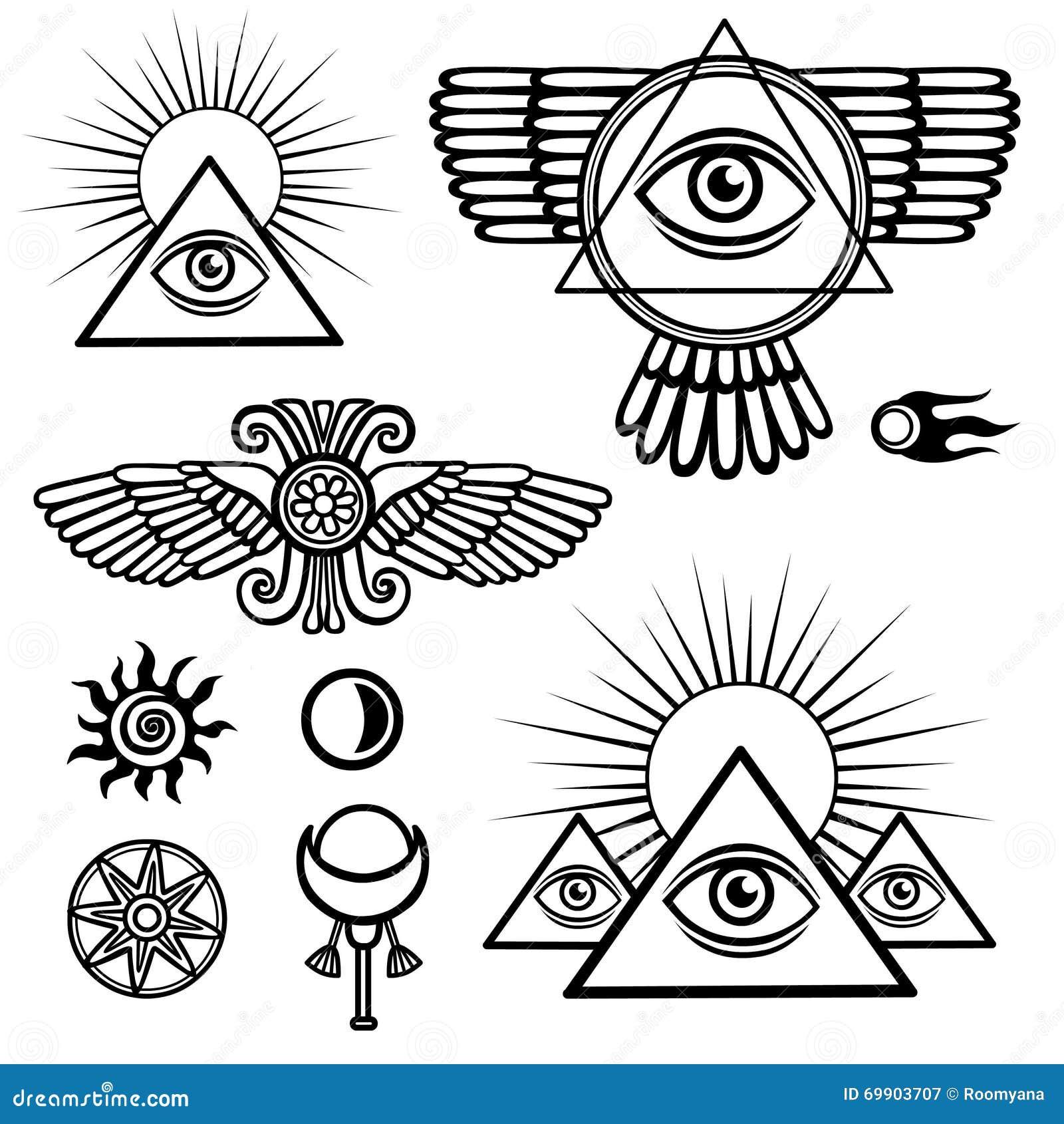 Комплект эзотерических символов: крыла, пирамида, глаз, луна, солнце, комета, звезда