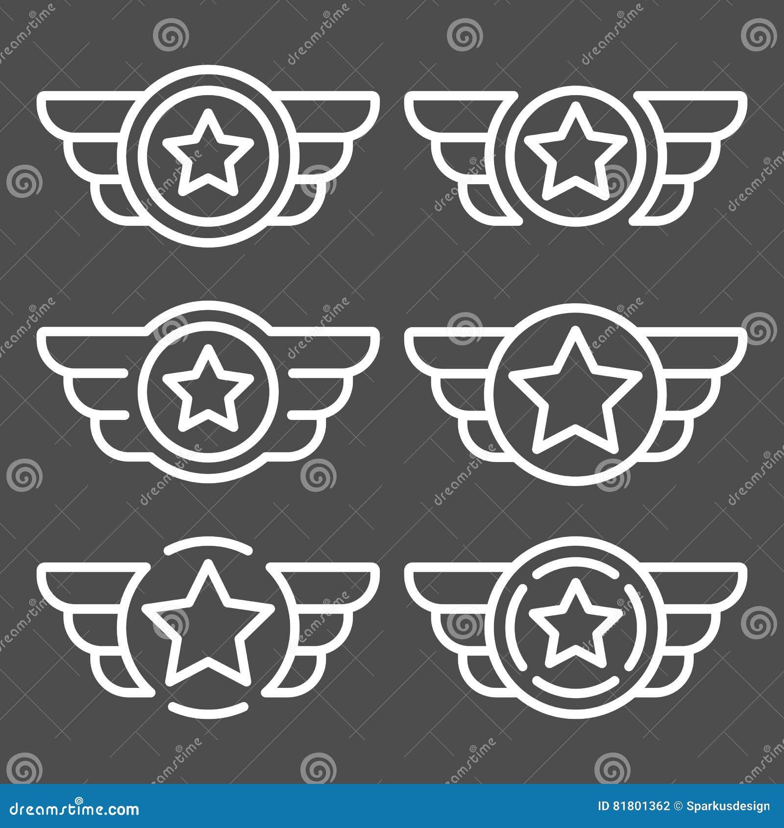Комплект эмблем вектора белых с крылами