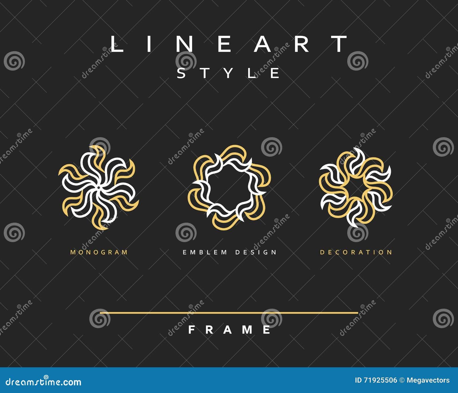 Комплект элегантной линии дизайна искусства Элемент дизайна вензеля
