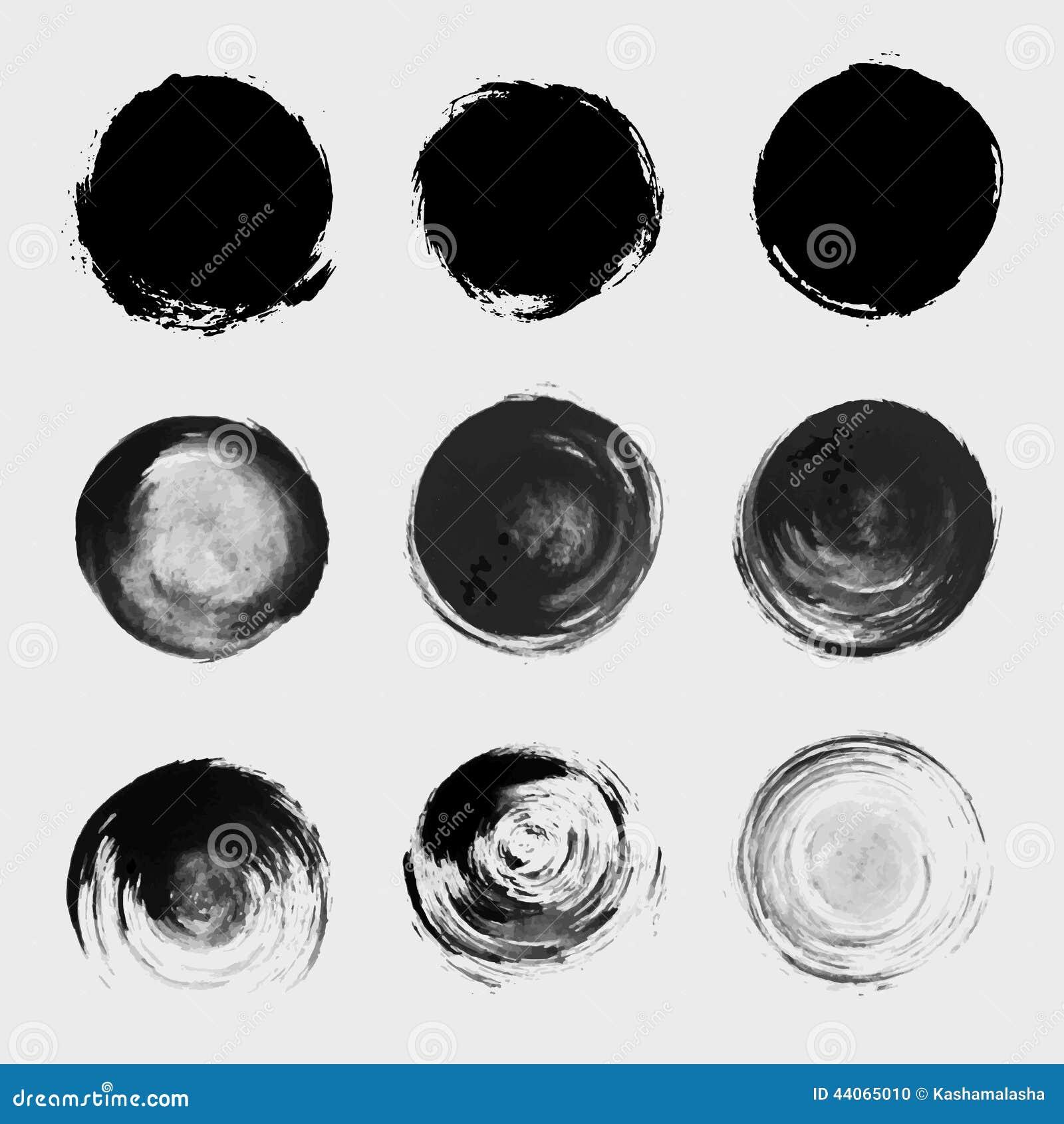 Комплект элемента вектора круга краски Grunge