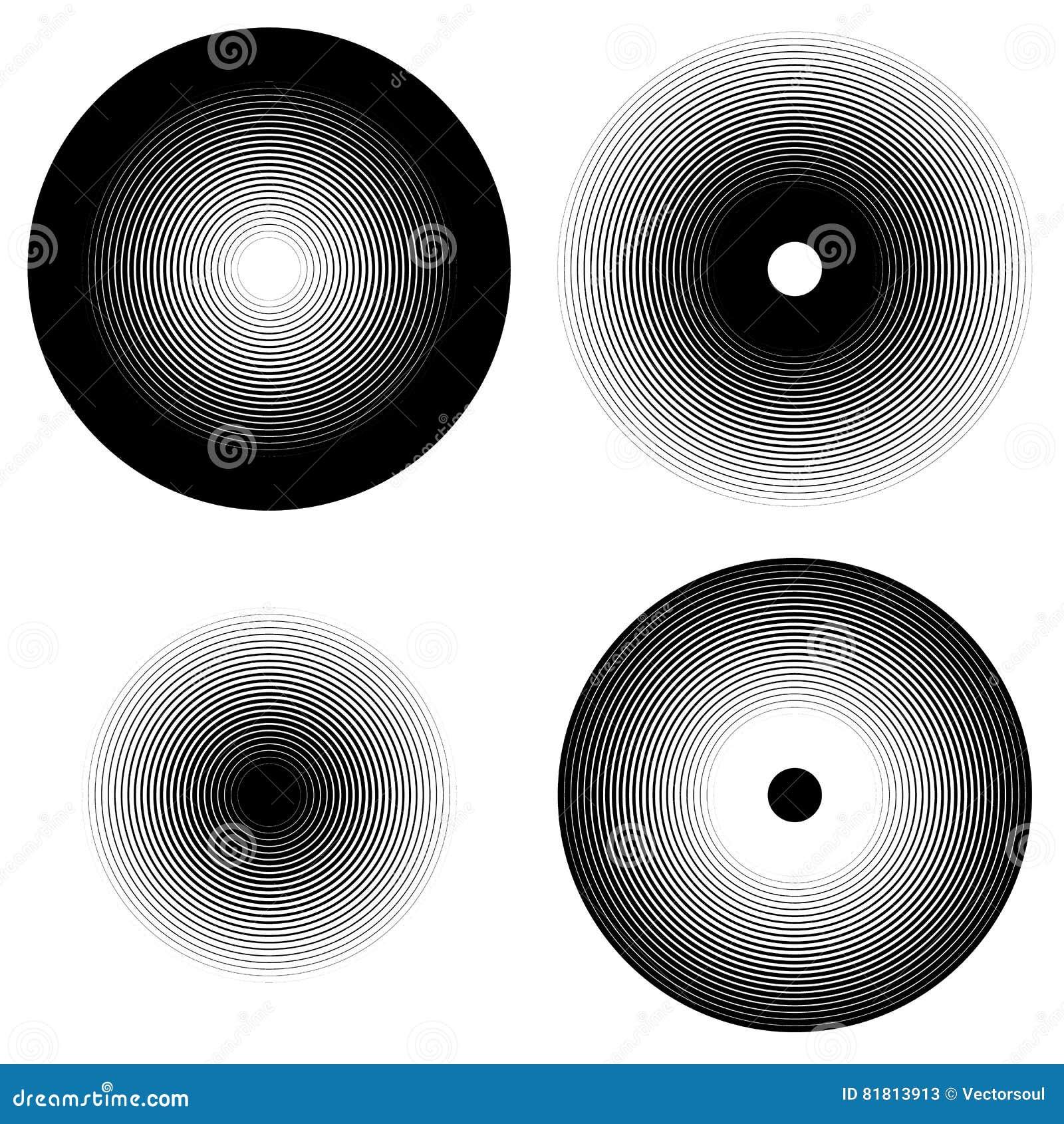 Комплект 4 элементов концентрического круга Пульсация, излучая круги