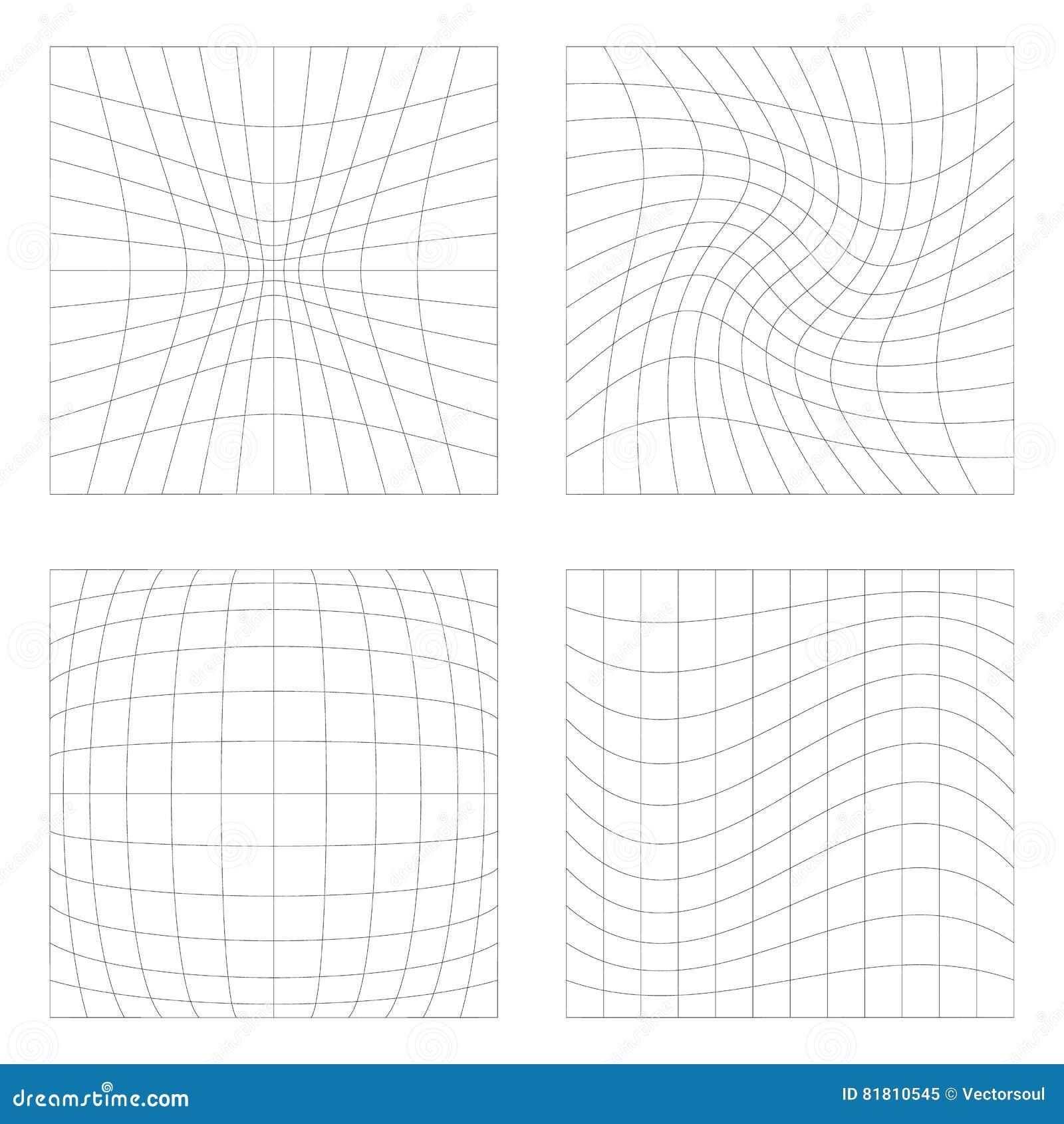 Комплект 4 элементов с различными искажениями, квадратами с defor