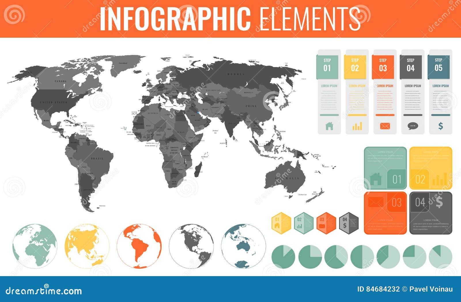 Комплект элементов Infographic Карта мира, отметки, диаграммы и другие элементы Дело Infographic вектор