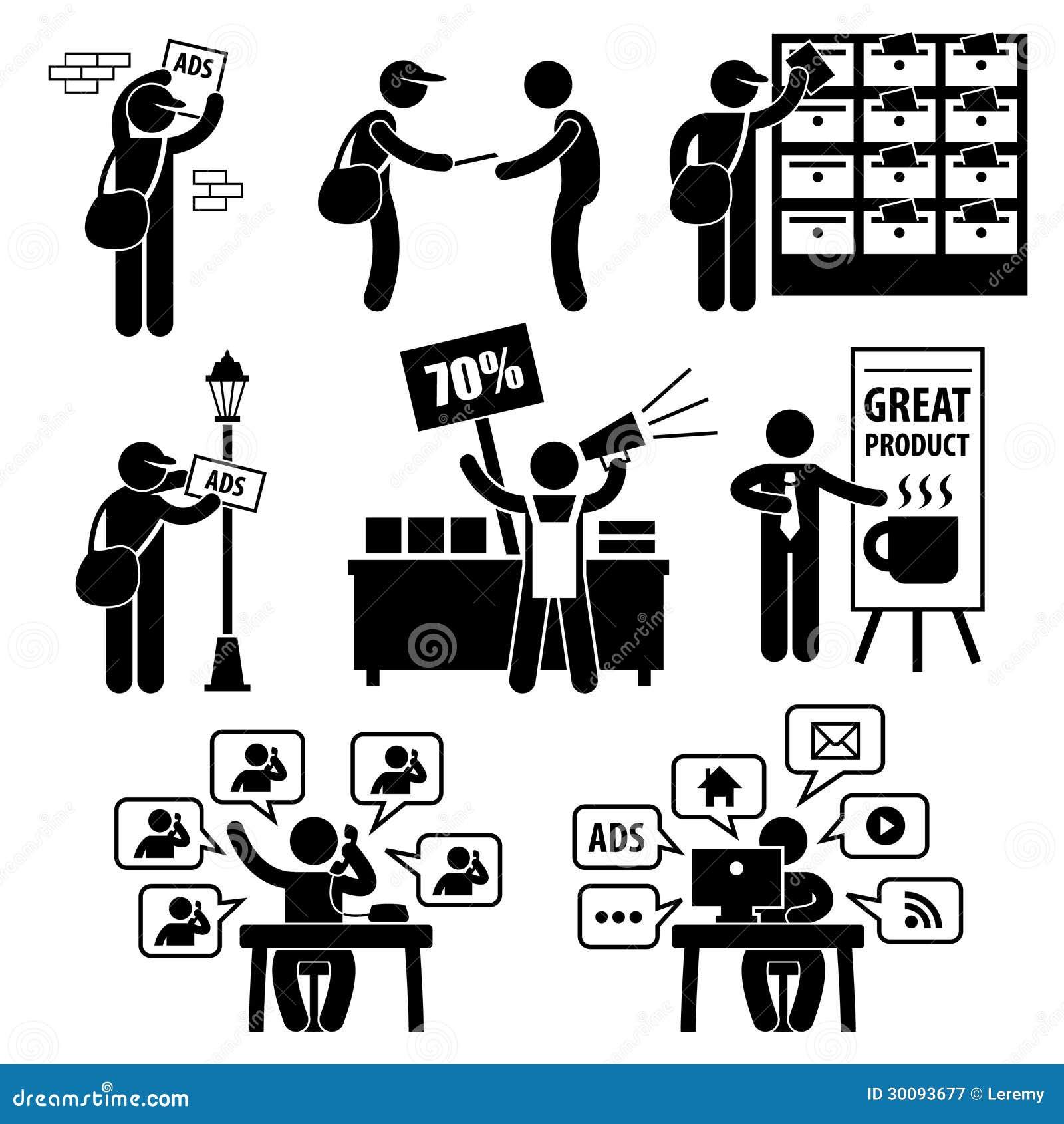 Пиктограммы маркетинговой стратегии рекламы