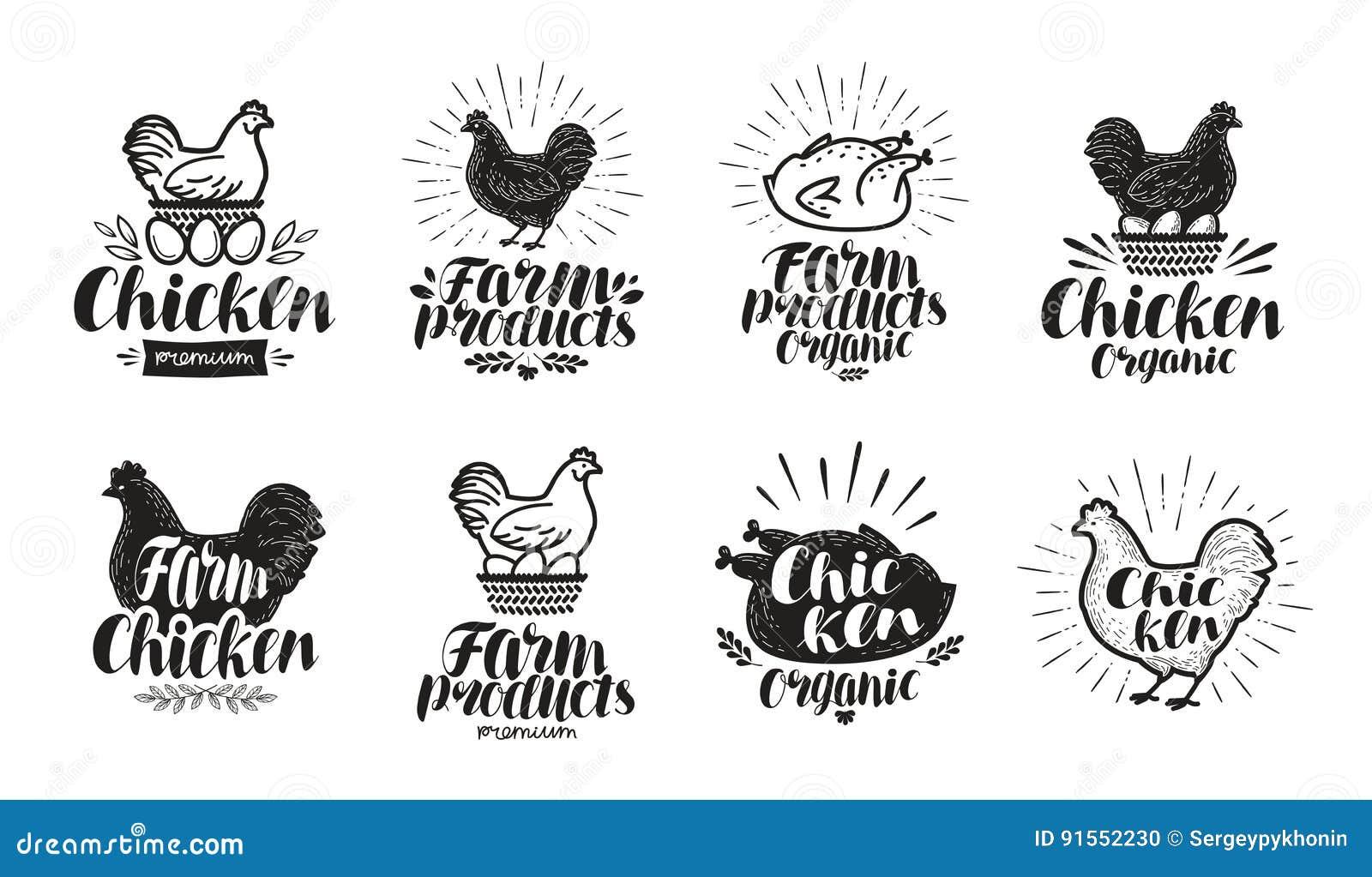 Комплект ярлыка цыпленка Еда, птицеферма, мясо, значок яичка или логотип Иллюстрация вектора литерности