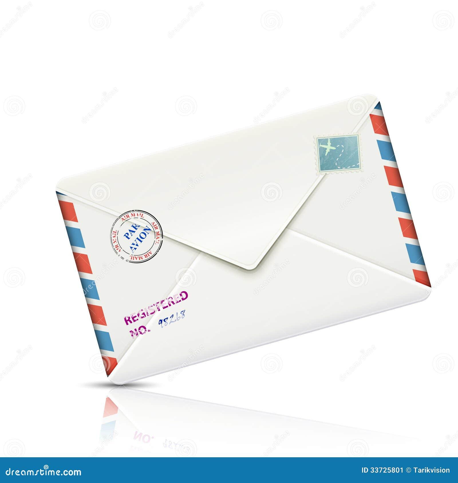 Конверт старомодной воздушной почты реалистический бумажный