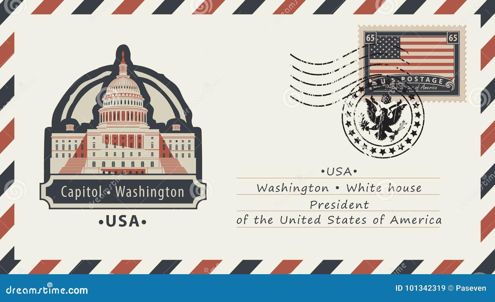 Конверт с капитолием Вашингтона и американским флагом