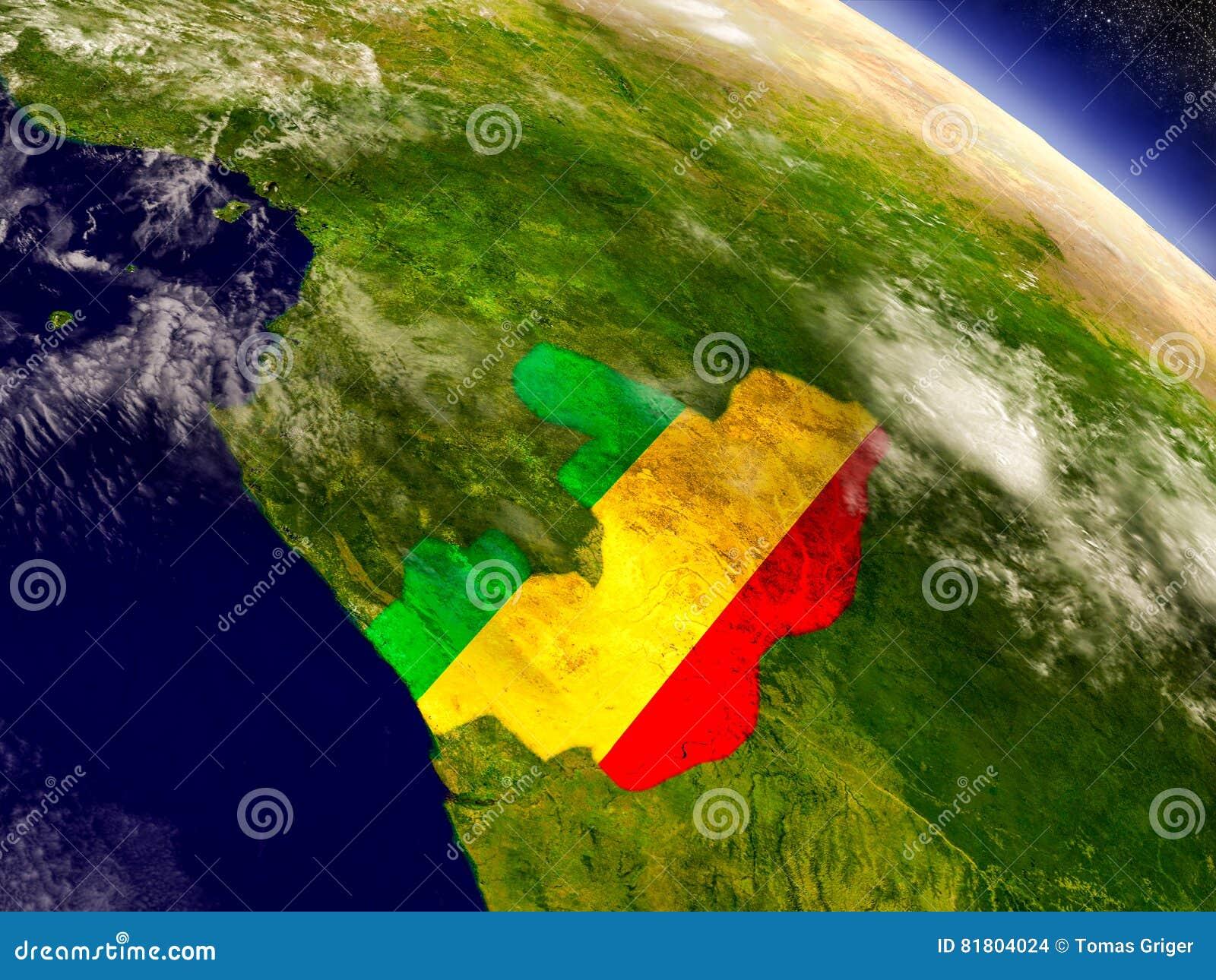 Конго с врезанным флагом на земле