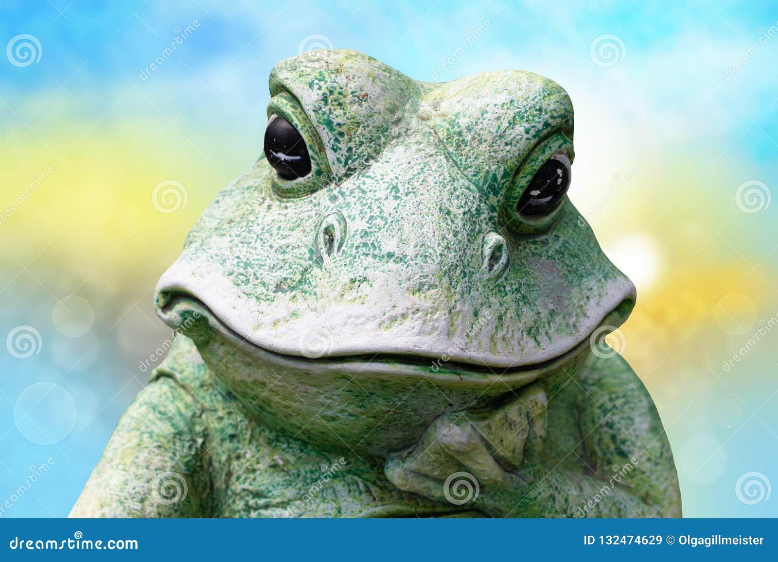 Конец-вверх головы лягушки Декоративная старая выдержанная керамическая лягушка o