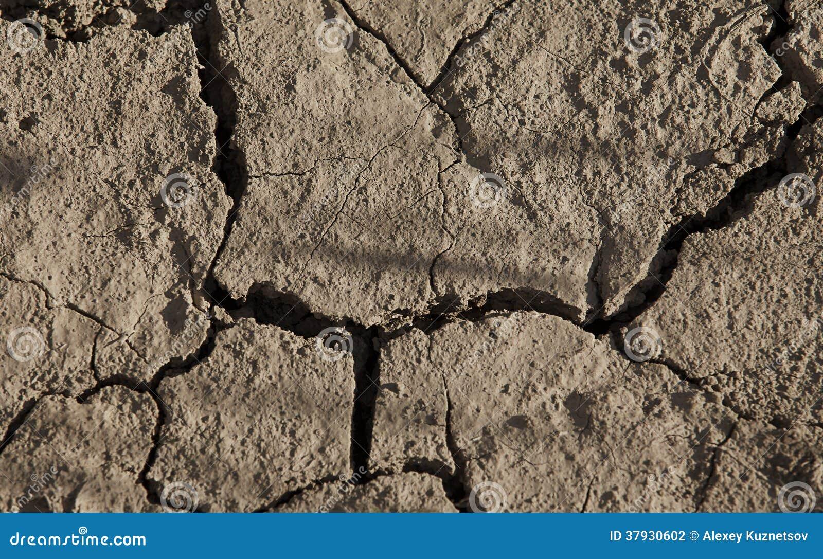Конец-вверх засушливой треснутой земли