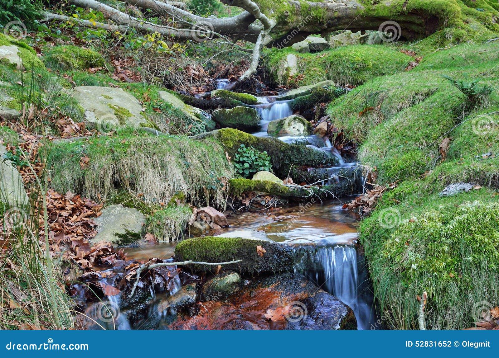 Конец-вверх потока в наклоне горы
