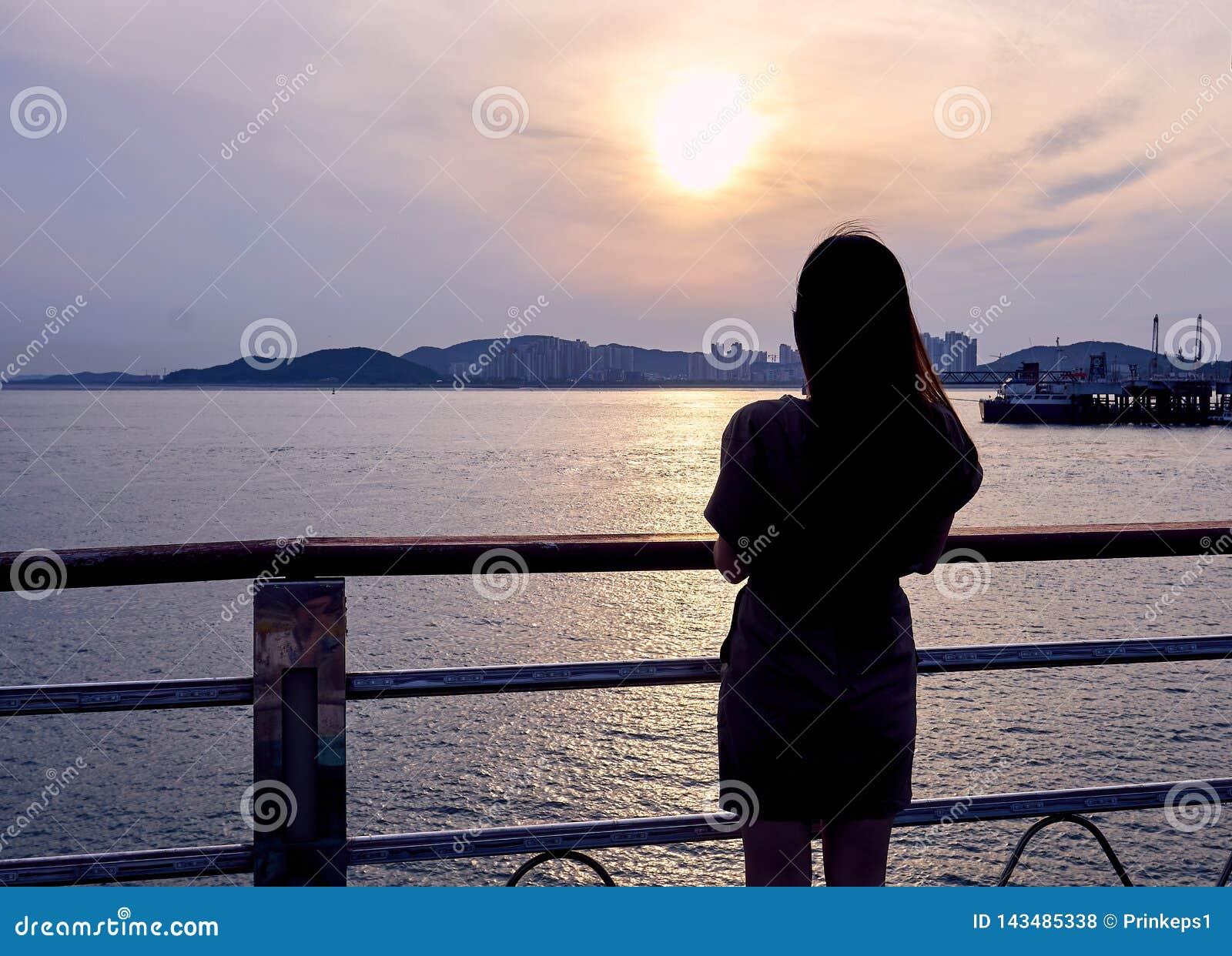Конец-вверх силуэта азиатской женщины смотря взгляд захода солнца Инч