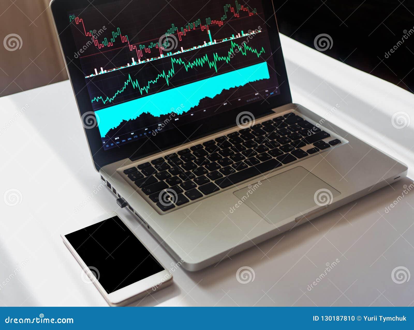 Конец вверх снял ноутбука с финансовыми данными на экране на белом d