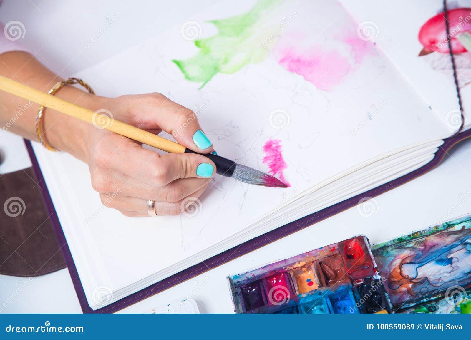 Конец-вверх художника рисует
