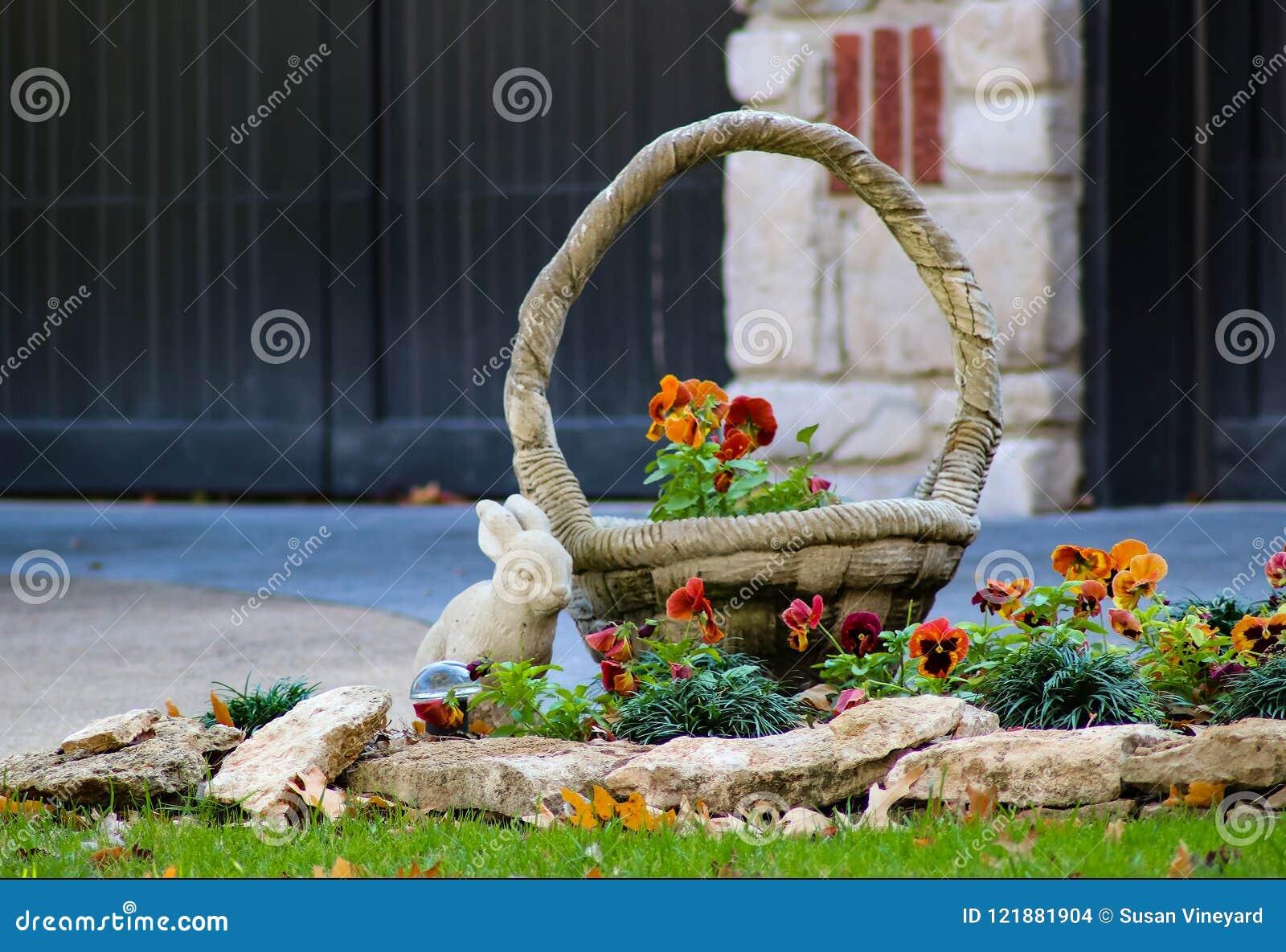 Конец-вверх pansies растя за ландшафтом трясет около статуи перед домом - селективного фокуса зайчика и корзины