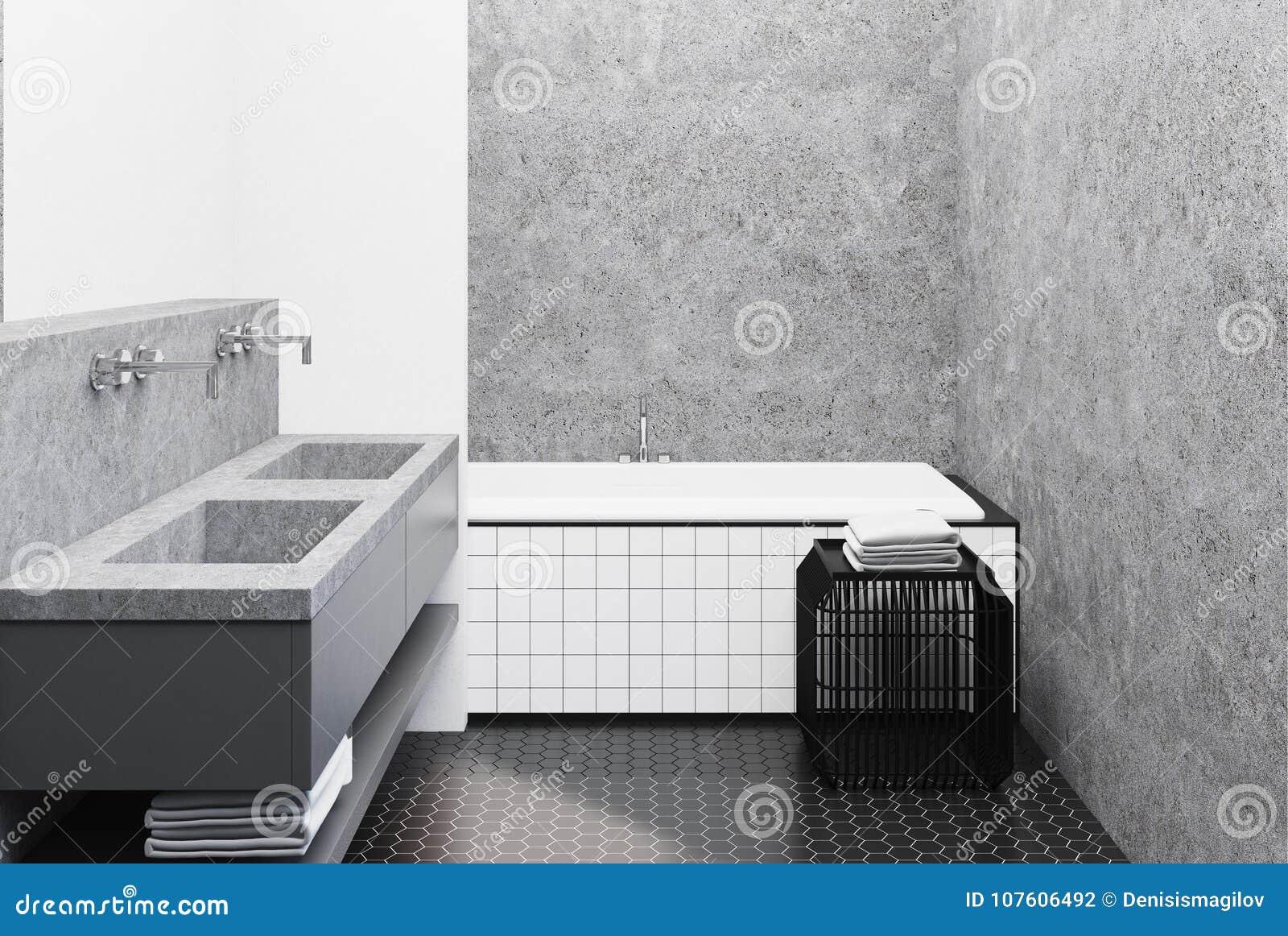 Конкретная ванная комната, крыть черепицей черепицей ушат и раковина