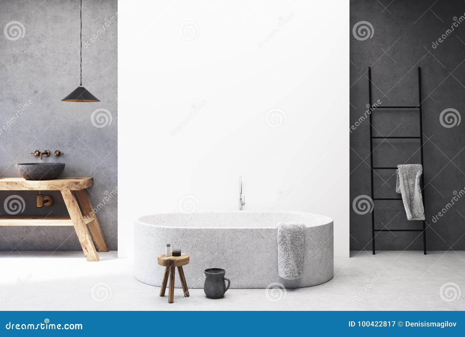 Конкретная и белая ванная комната, круглый ушат