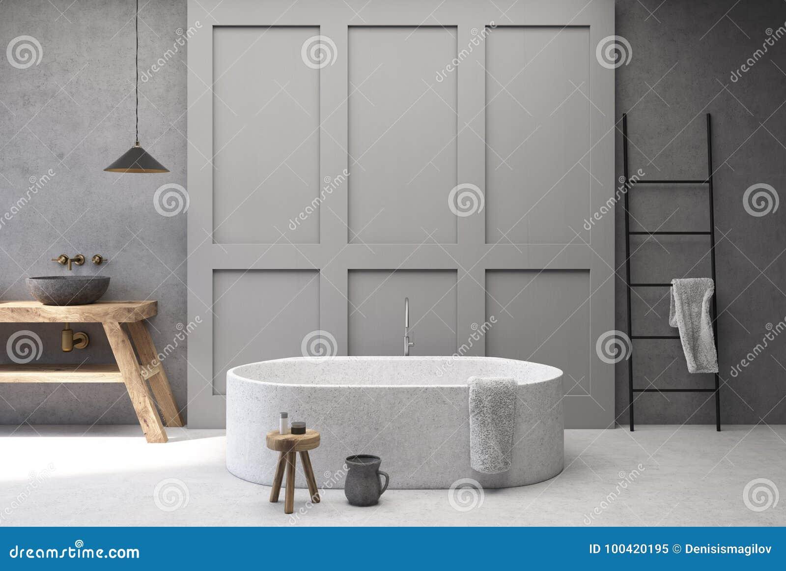 Конкретная и серая ванная комната, круглый ушат