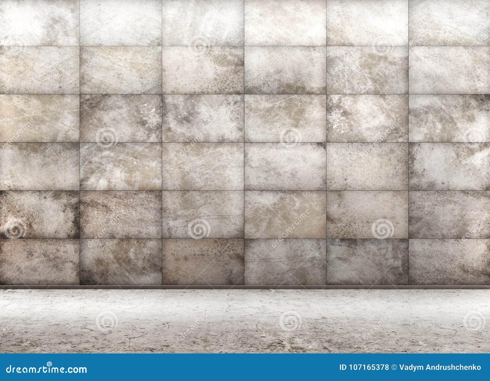 Конкретная крыть черепицей черепицей стена, внутренний перевод предпосылки 3d