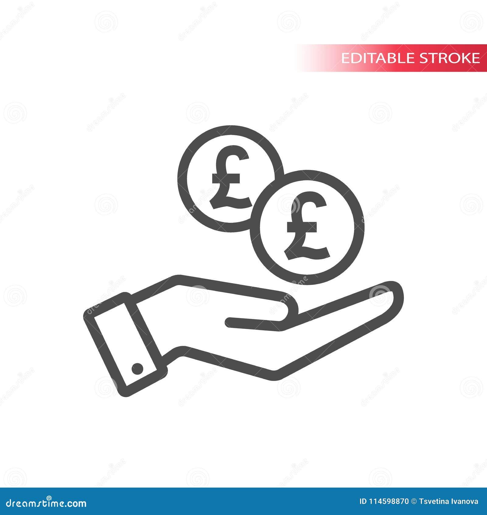 Конспектируйте плоский значок монеток фунта падая в руку Рука и монетки падая сеть Фунты монетки и ладонь
