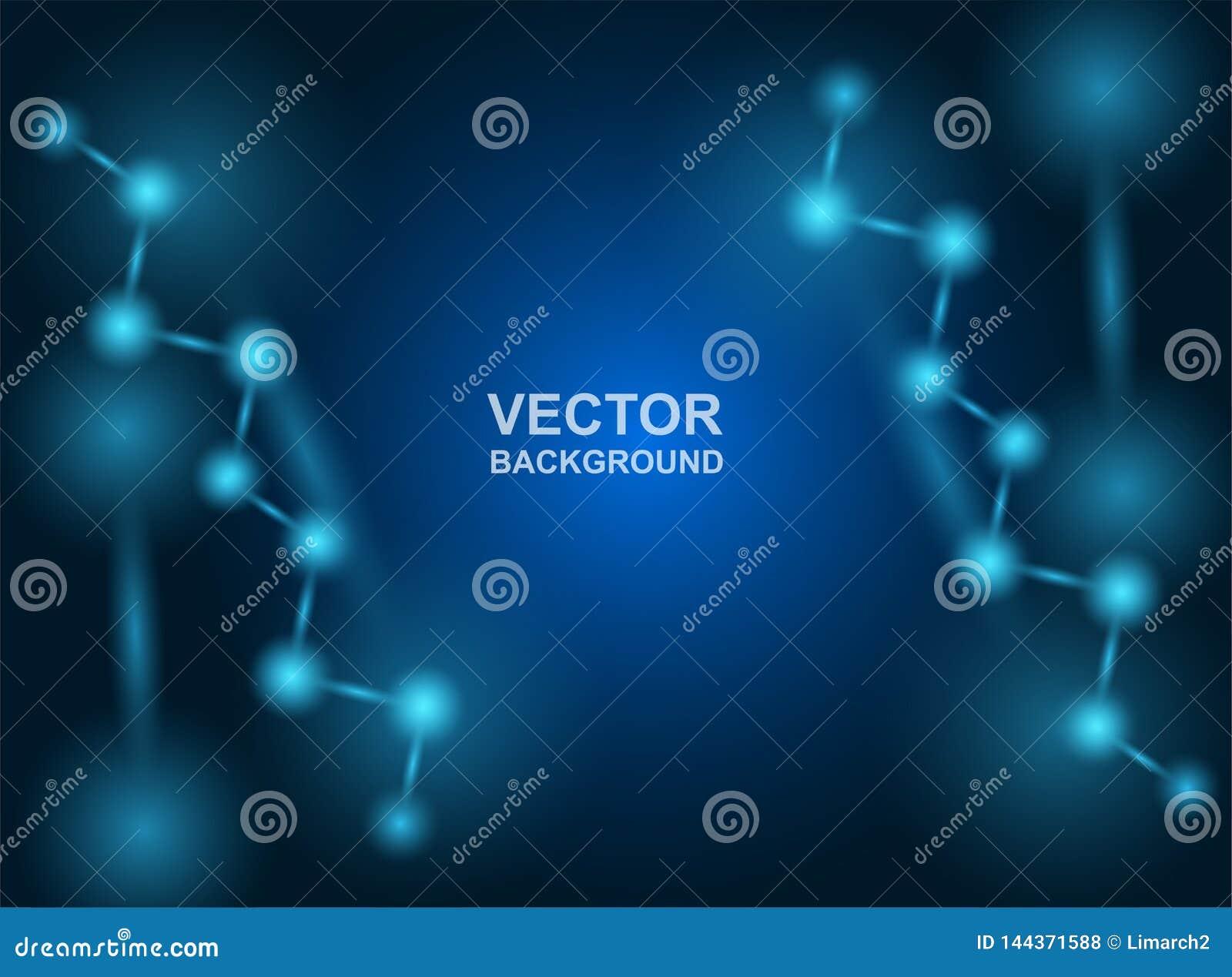 Конспект молекулы конструируют Атомы Предпосылка медицинских или науки Молекулярная структура с голубыми сферически частицами r
