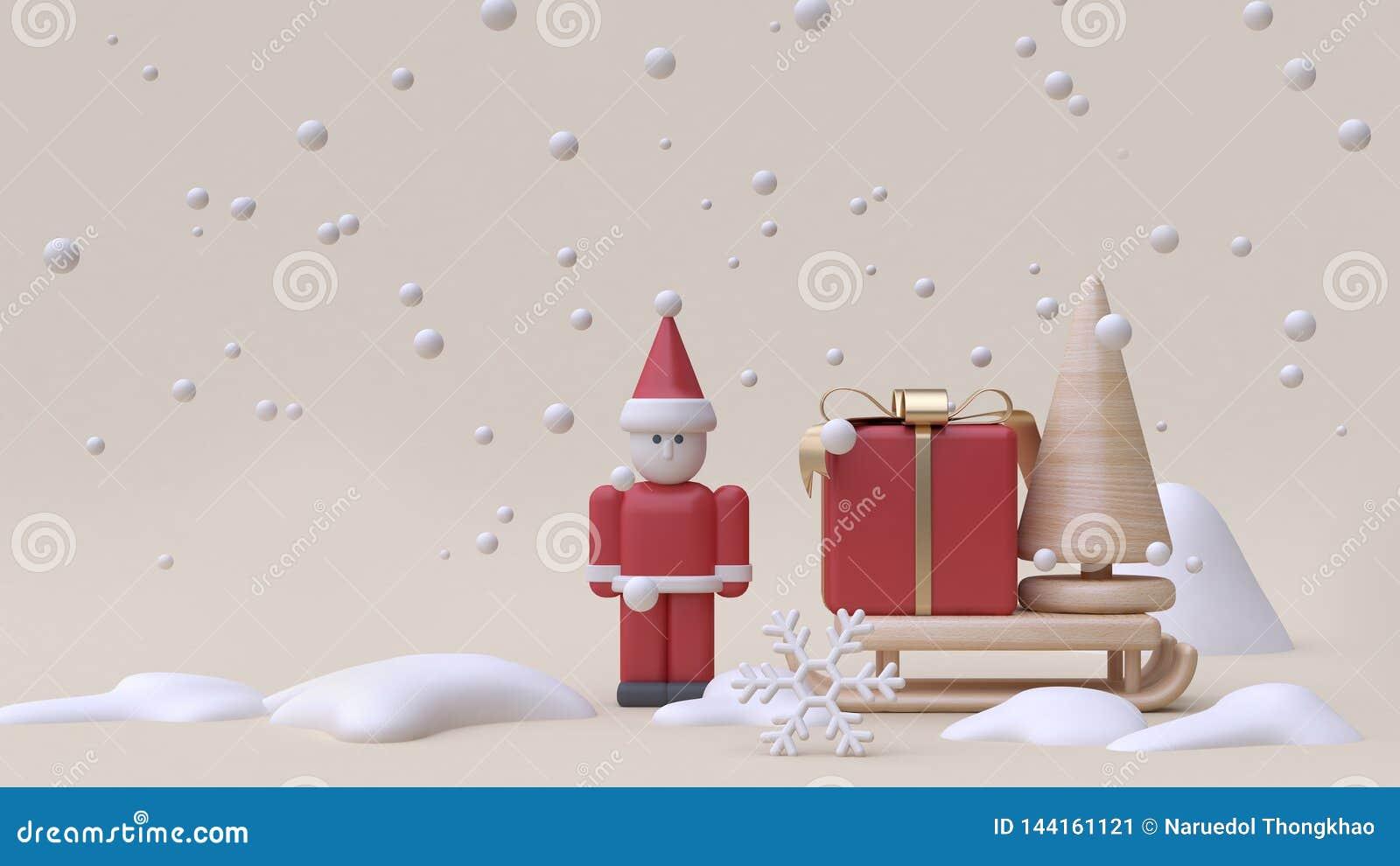 конспект Санта Клаус и предпосылка 3d сливк деревянной игрушки стиля мультфильма концепции Нового Года снега зимы скелетона подар