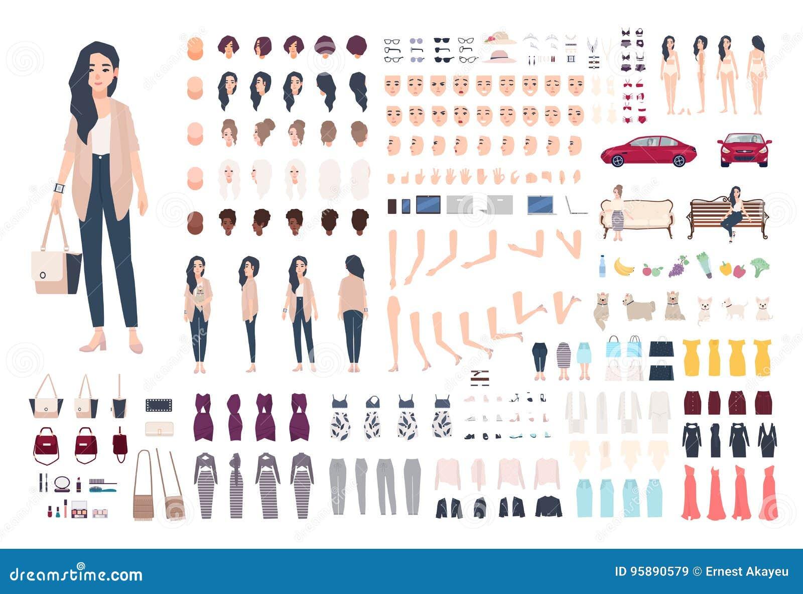 Конструктор характера молодой дамы Ультрамодный комплект творения девушки Различные позиции женщины, стиль причёсок, сторона, ног