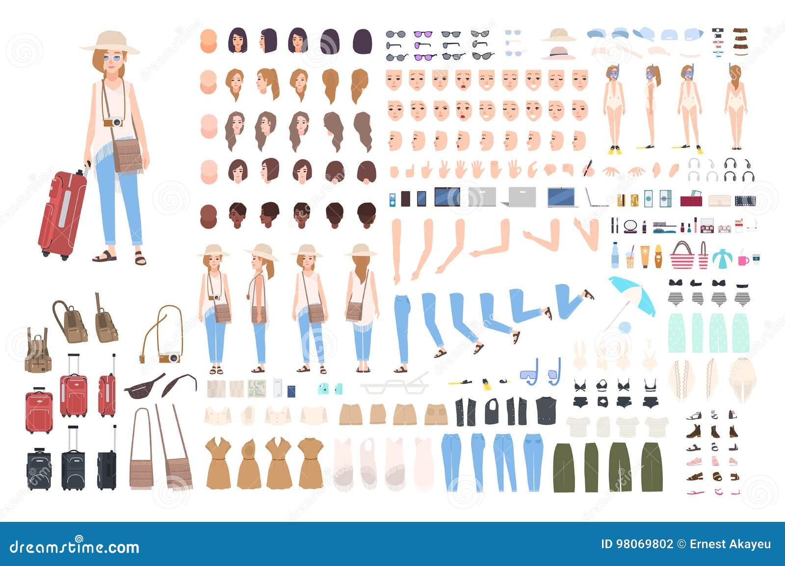 Конструктор характера путешественника маленькой девочки Различная женщина в комплекте творения каникул Позиции, стиль причёсок, с