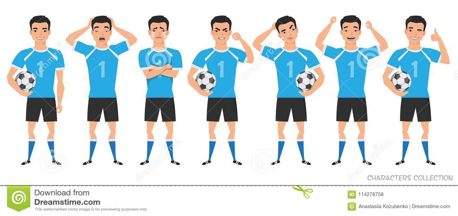 Конструктор характера футболиста позиции азиатского футболиста различные, установленные эмоции