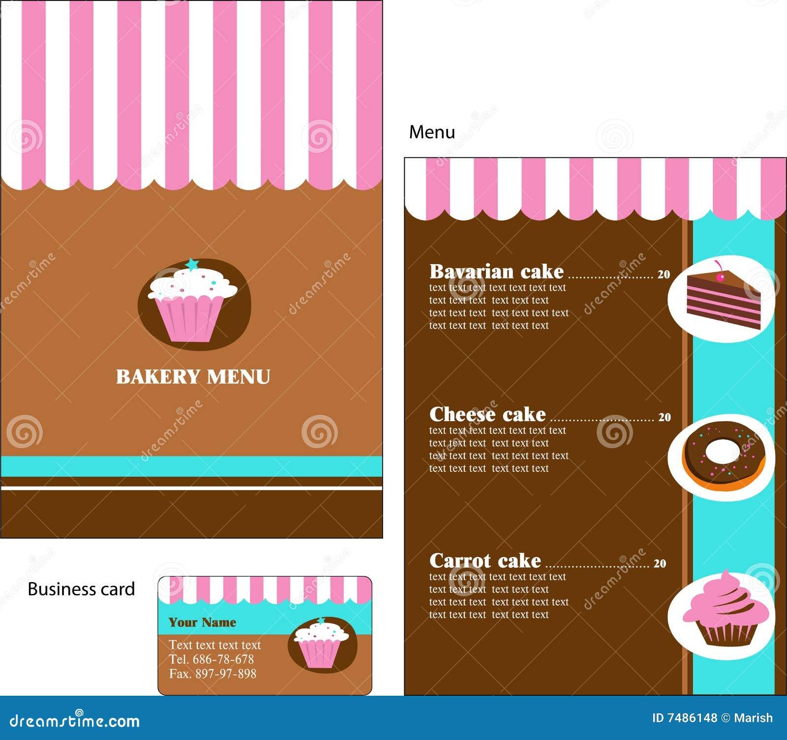 Конструкции шаблона меню хлебопекарни и ресторана