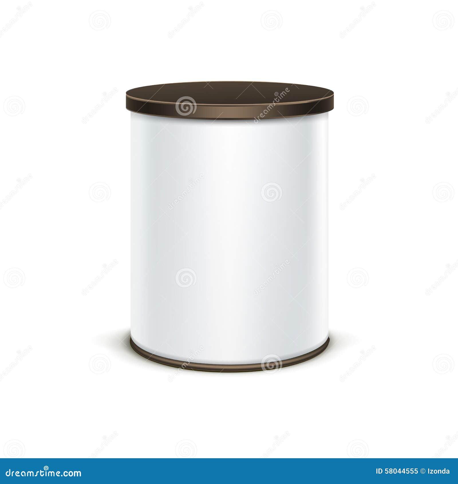 Контейнер белой коробки олова упаковывая для кофе чая изолировал вектор