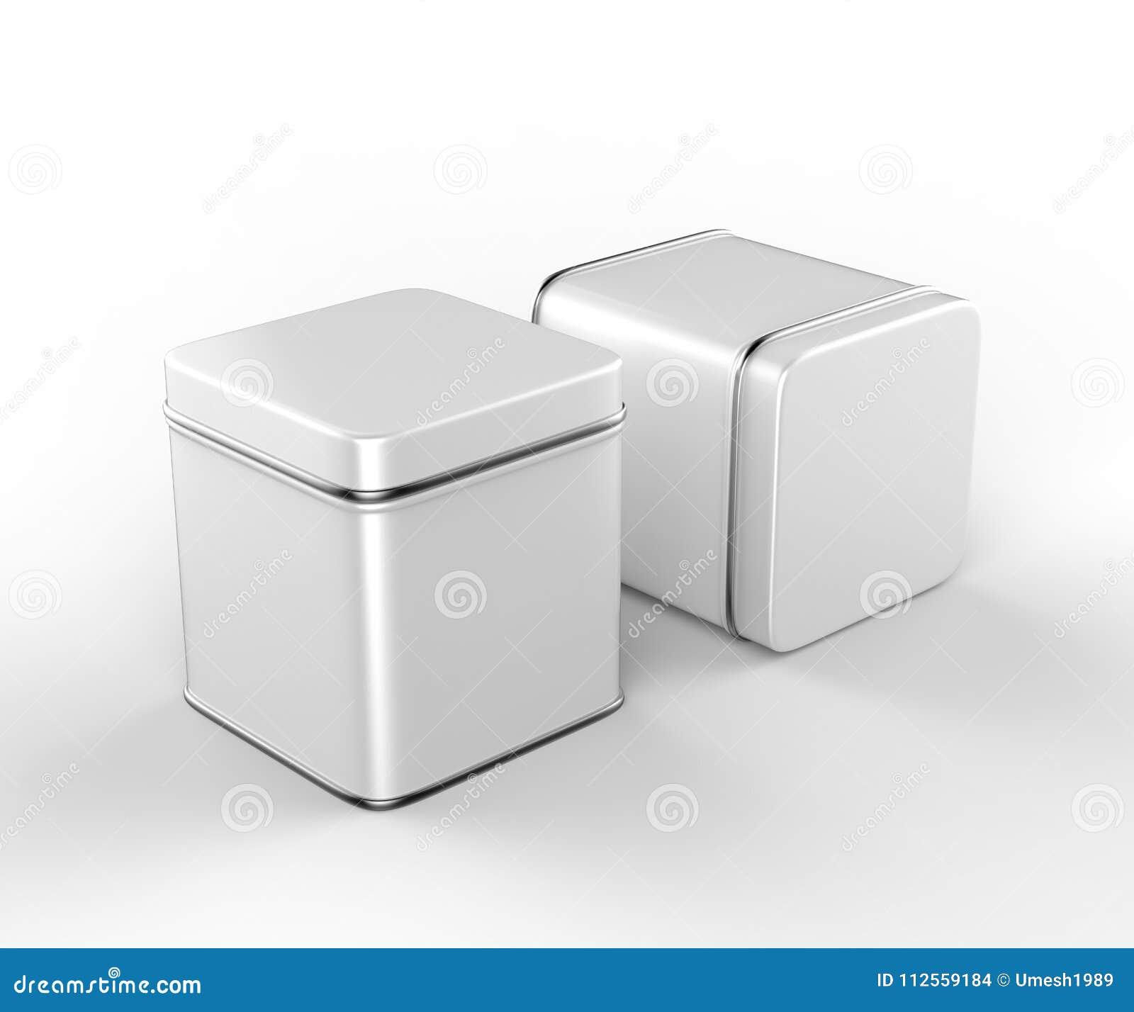 Контейнер коробки металла нержавеющей стали или олова сияющий серебряный изолированный на белой предпосылке для насмешки вверх и