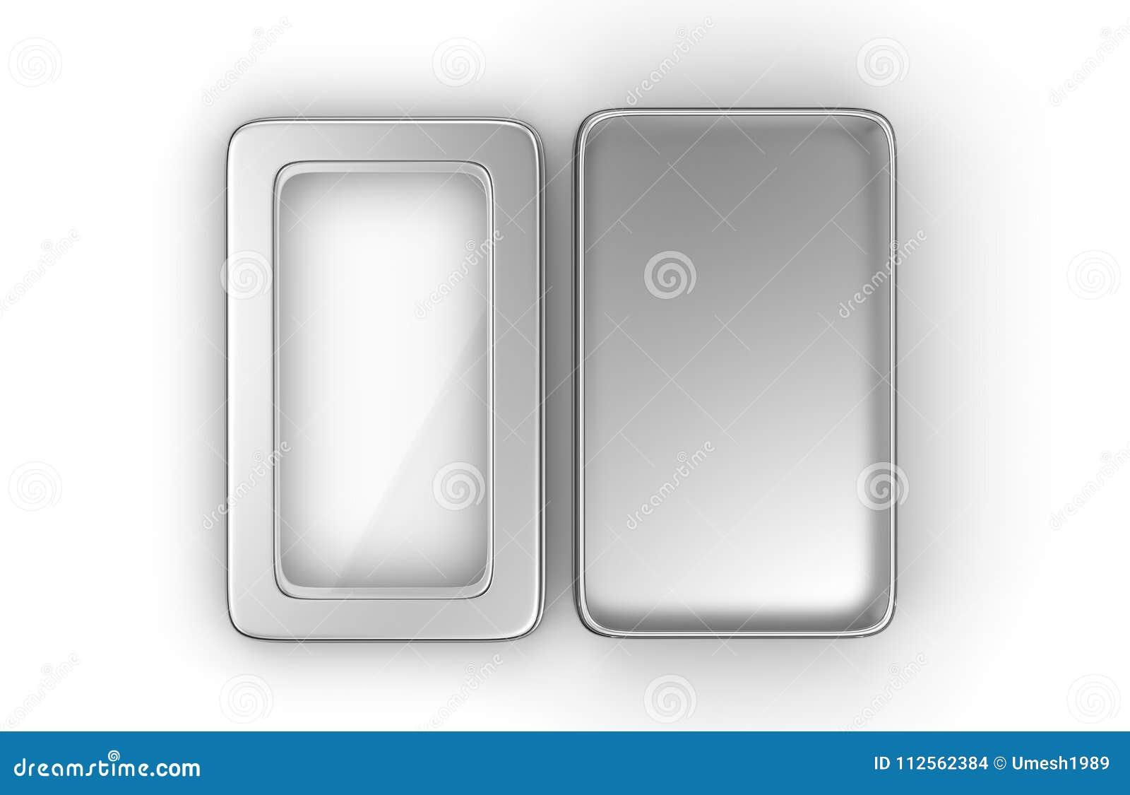 Контейнер коробки металла нержавеющей стали или олова сияющий серебряный с крышкой окна на белой предпосылке для Des насмешки под