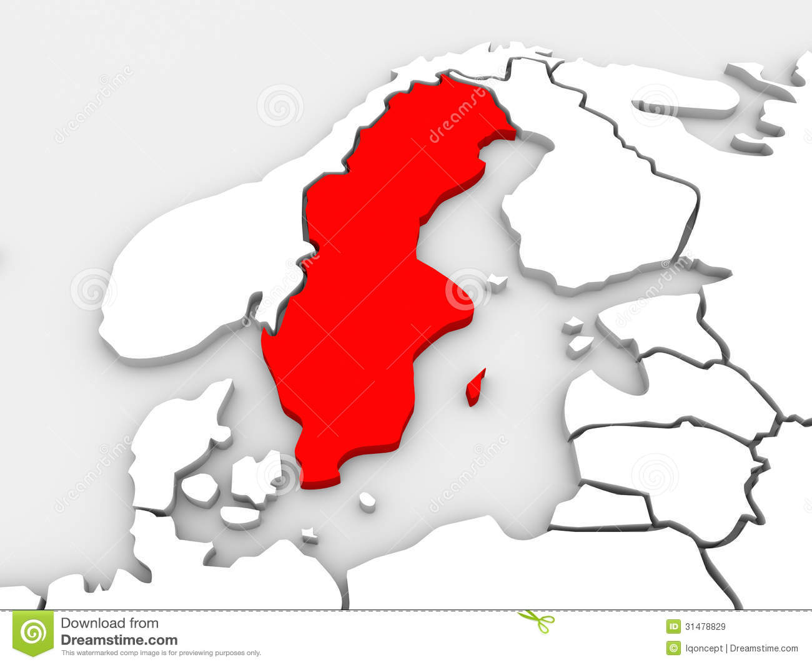 Континент Северн Северного карты страны Швеции проиллюстрированный 3d