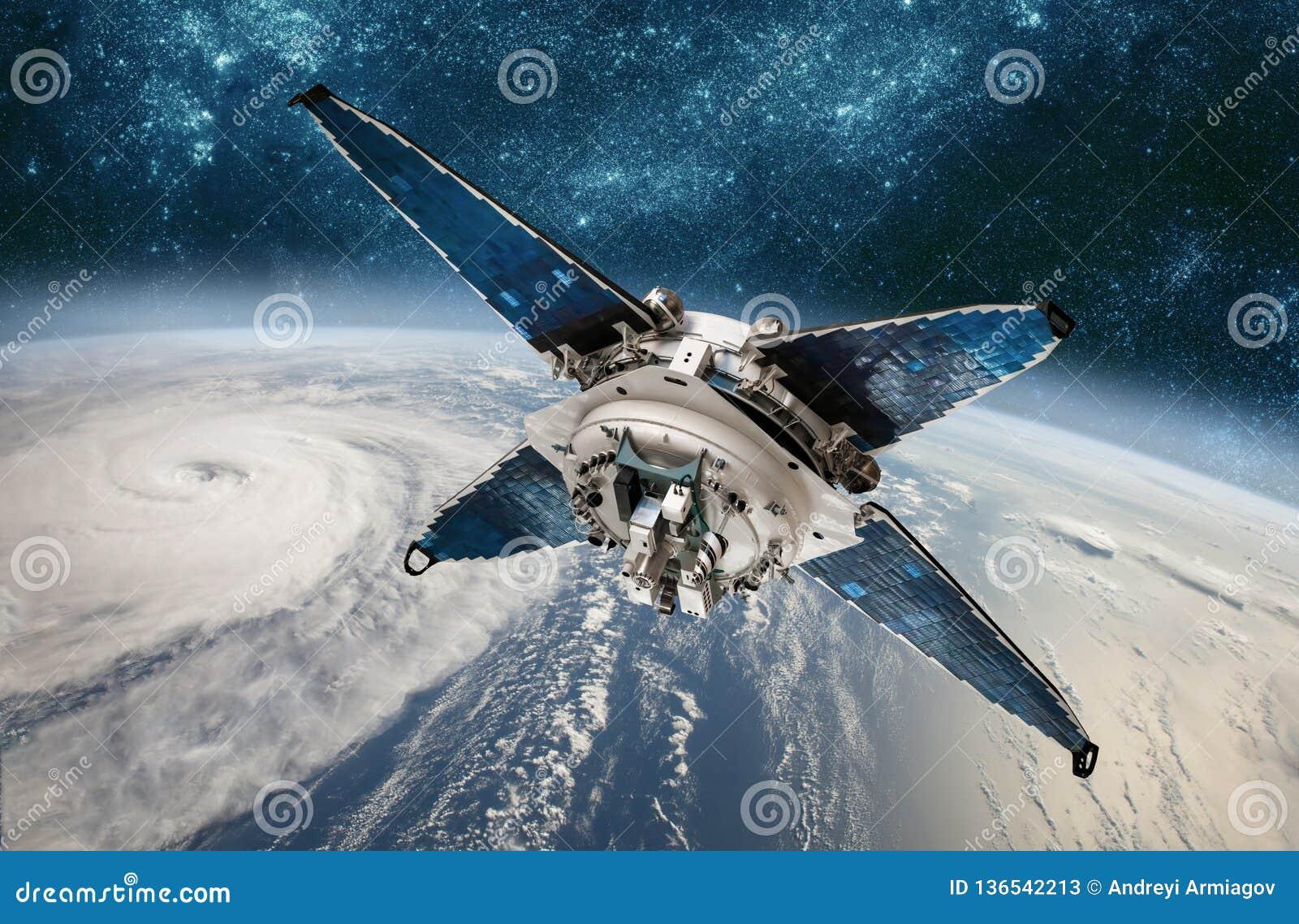 Контроль космоса спутниковый от погоды земной орбиты от космоса, урагана, тайфуна на земле планеты