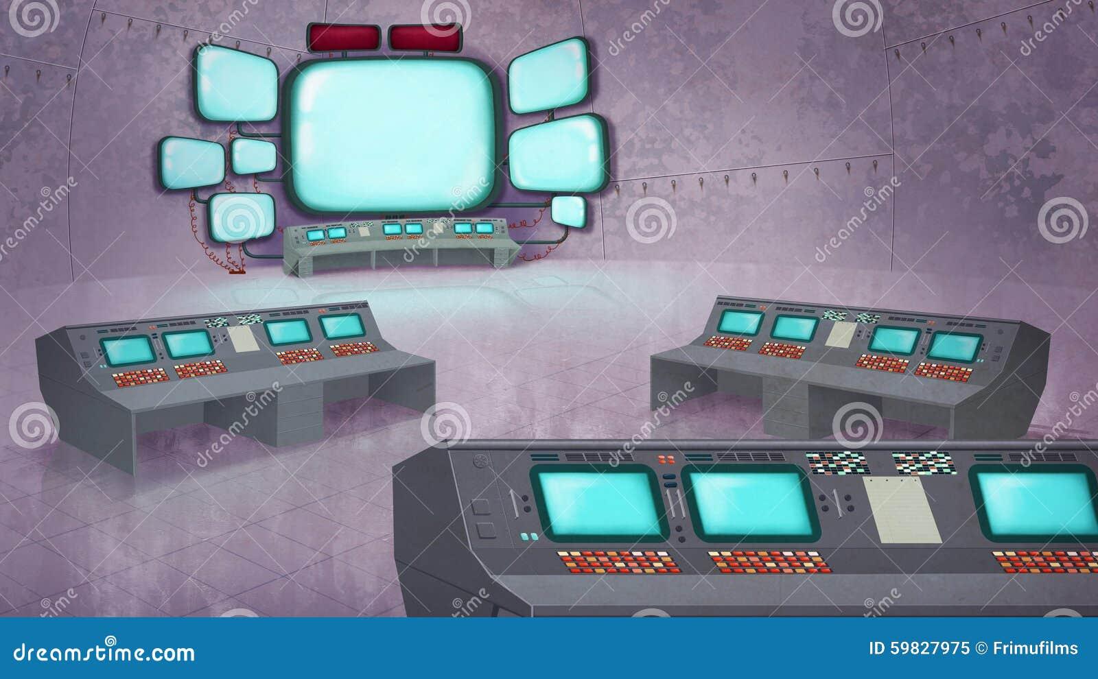 Контрольный центр управления полетом Иллюстрация штока  Контрольный центр управления полетом