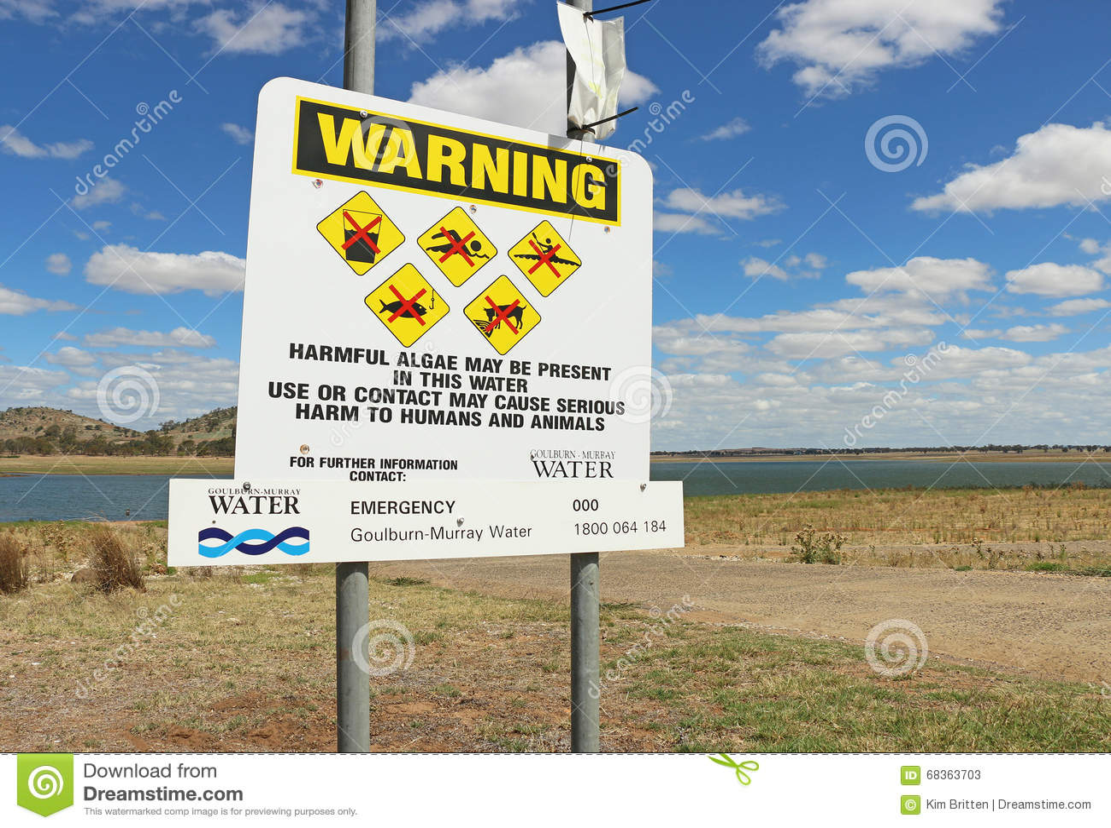 Контроль на резервуаре Curran пирамиды из камней обнаружил высокие уровни сине-зеленых водоросли Предупреждали, что избегает публ