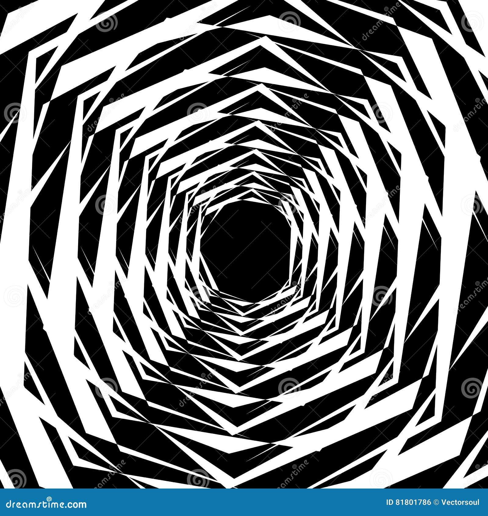 Концентрические геометрические шестиугольники/восьмиугольники Абстрактное PA monochrome