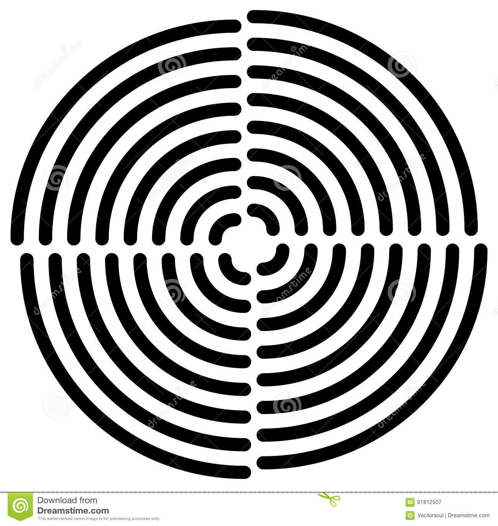 Концентрические круги отрезали в квартале - абстрактном monochrome radiat