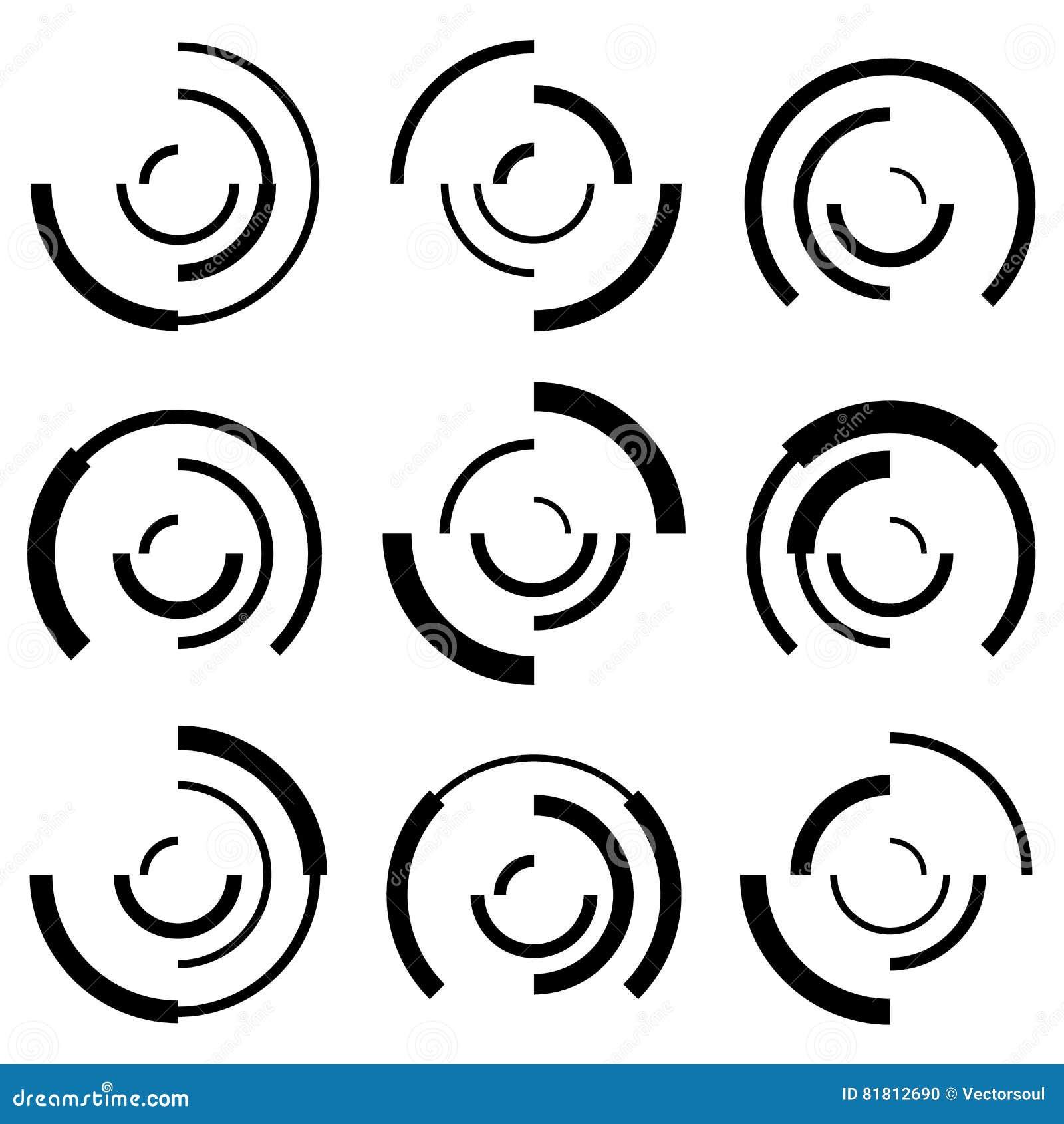 Концентрические круги с случайными линиями Поделенный на сегменты конспект кругов