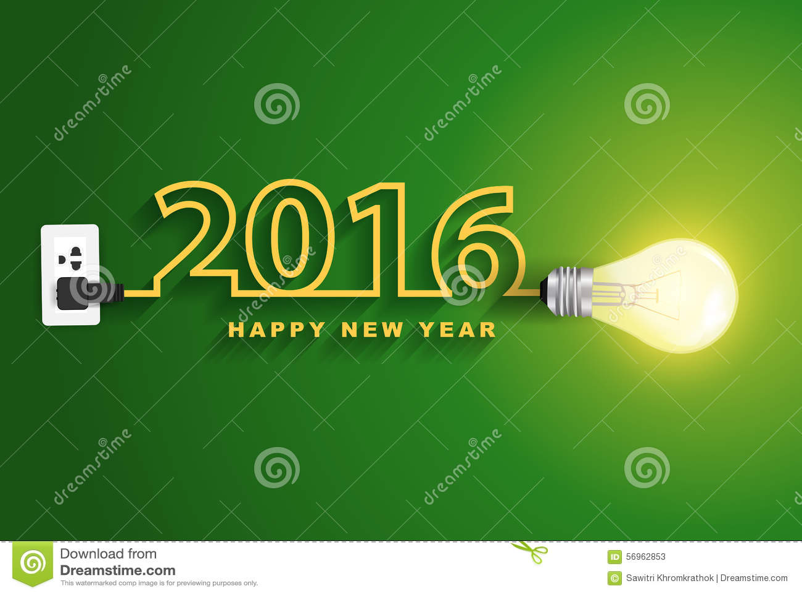 Концепции Нового Года вектора 2016 идея электрической лампочки счастливой творческая