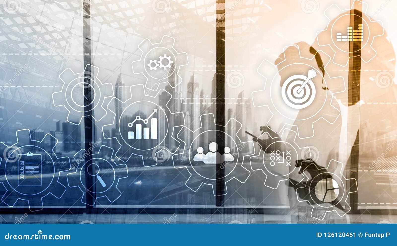 Концепция автоматизации бизнес-процесса Шестерни и значки на абстрактной предпосылке