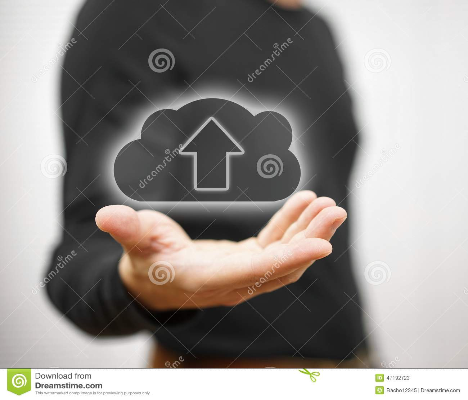 Концепция безопасного хранения данных или загружать облака вы хранит