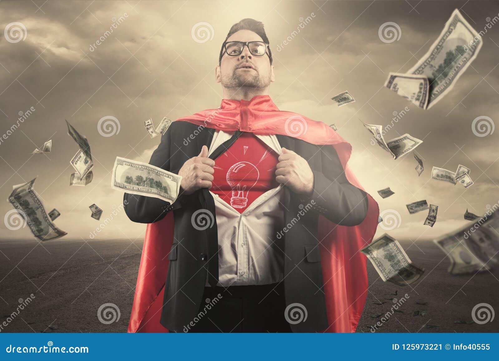 Концепция бизнесмена супергероя