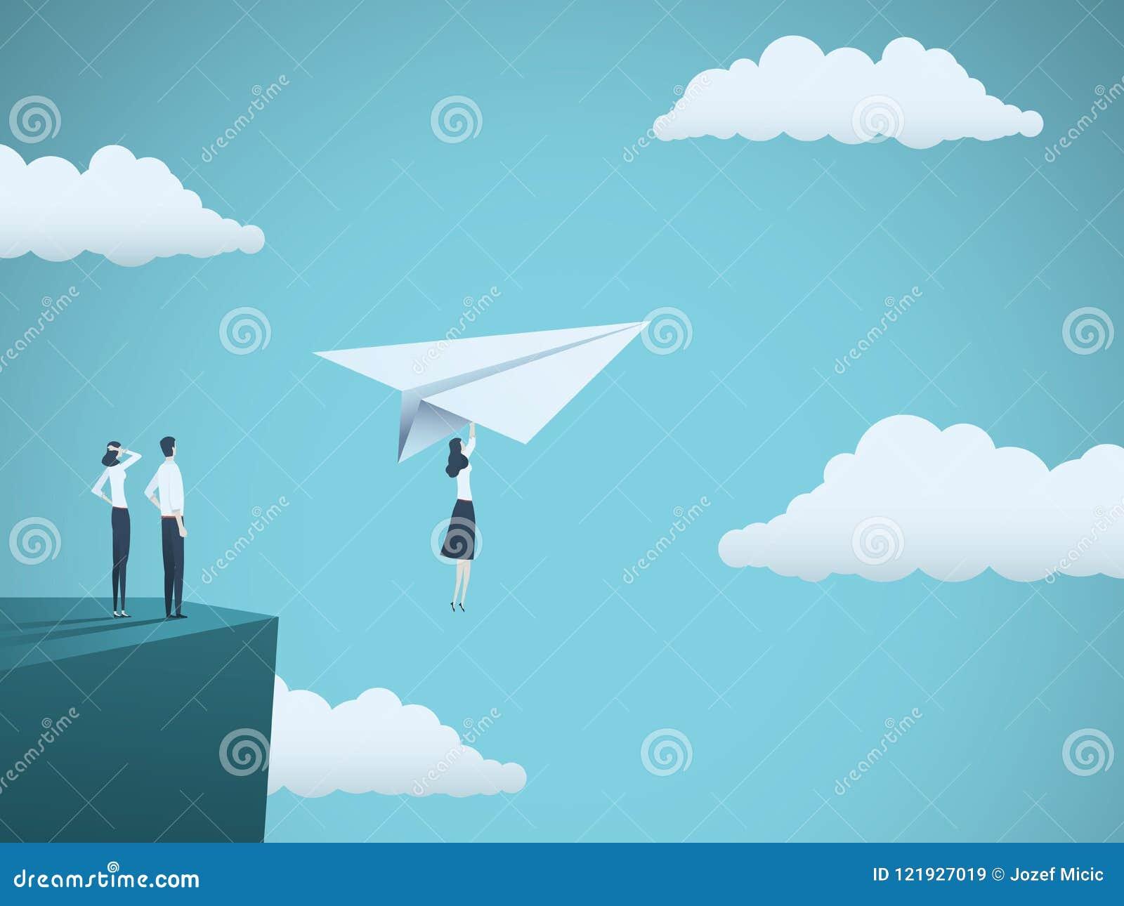Концепция вектора руководителя бизнес-леди Летание коммерсантки с самолетом бумаги с скалы Символ прочности, творческих способнос