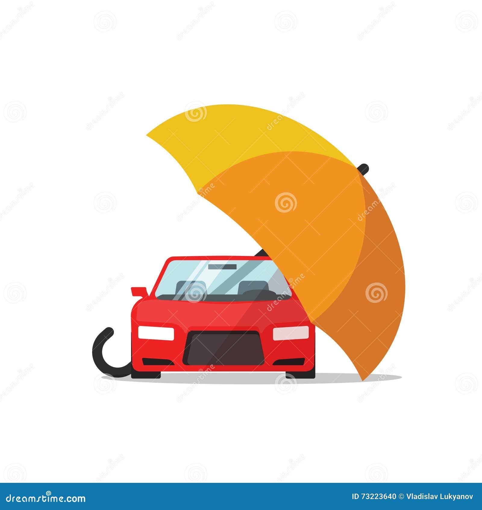 Концепция вектора страхования автомобилей, автоматическая защита, иллюстрация автомобиля крышки зонтика